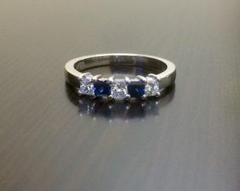 18K White Gold Blue Sapphire Diamond Engagement Band - 18K Gold Sapphire Diamond Wedding Band - Blue Sapphire Band - Diamond Band - Bridal