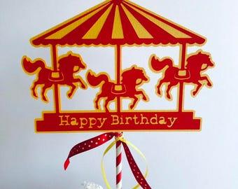 Carnival Party Cake Topper, Carousel Cake Topper, Circus Party Cake Topper, Circus Party Decoration