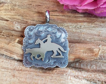 Working Cow Horse Pendent/ Artisan Handmade/ Sterling Silver and 12kt goldfill/ Rustic Ranch finish