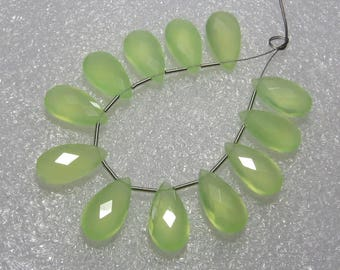 Chalcedony Prehnite Green Color Faceted - 6 Matching Pairs - Pear Shape - size 8x15 mm