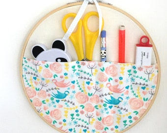 Stationery holder, pen holder, embroidery hoop storage pocket, fabric storage, office storage, home office tidy, pen organiser, wall mounted