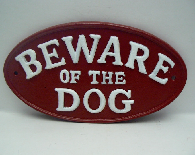 Beware of the Dog Cast Iron Sign Red White Gate Fence Home Decor