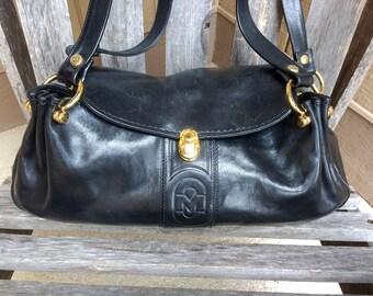 Vintage Marino Orlandi Black Genuine Leather Handbag Shoulder Bag Purse with Gold Hardware Made in Italy