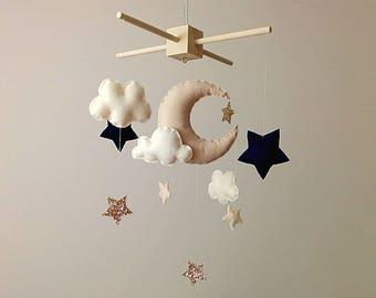 Neutral Nursery Decor . Moon & Stars Baby Mobile . Beige Nursery Decor . Navy And Gold Baby Mobile . Clouds Nursery Mobile .