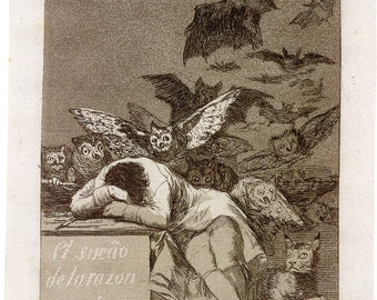 Fine Art Reproductions. The Sleep of Reason Produces Monsters - Set of Three Caprichos, 1799 by Francisco Goya. 3 Fine Art Prints