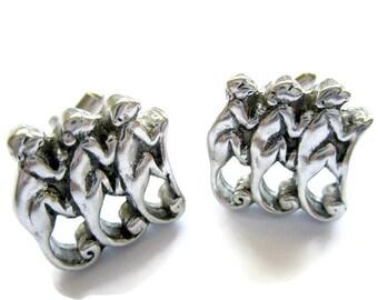 Monkey cufflinks, silver cufflinks, silver animal cufflinks, silver monkey cufflinks, gifts for men, vintage cufflinks