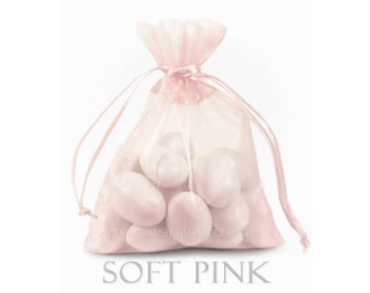10 Soft Pink Organza Bags, 5 x 8 Inch Sheer Fabric Favor Bags