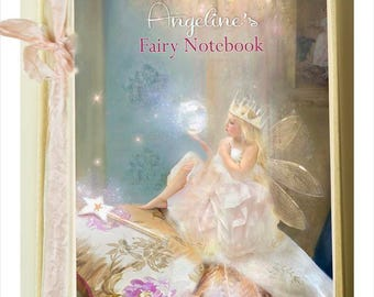 Fairy gifts - Boudoir -  YOUR OWN NAME Hardbacked notebook  lined pages ( personalised text on front available)