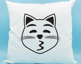 Kissing Cat Face Emoji Pillow - Kissy Cat Pillow - Kissing Cat Face with Closed Eyes Emoji Pillow - Cat Kiss Face Emoji Cushion