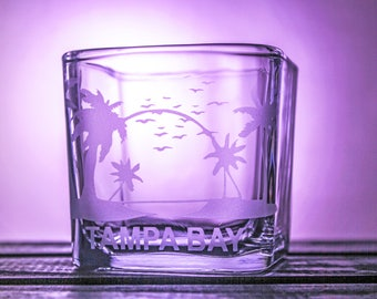 Tampa Bay - Candle Holder - Home Decor - Florida - The Big Guava - Square Glass - Gift Ideas - Gifts for Her - FL - Personalized