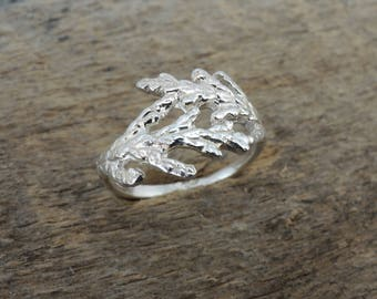 Wrapped Cedar Ring - Branch Ring Sterling Silver 925 Twig - Made to Order