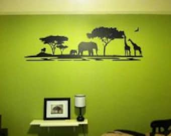 African Landscape vinyl wall decal