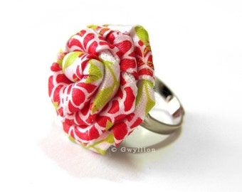 Lovely Satin Red and White Rose Ring