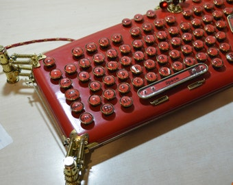 "Version TWO : RED steampunk keyboard  ""LaFerri """
