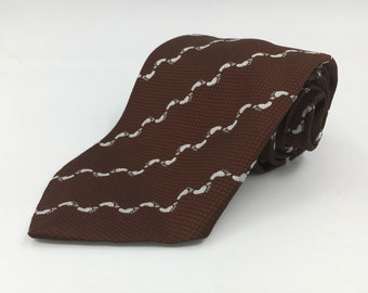 Vintage 1970s Wide Brown Polyester Tie with White Footprint Patterned Stripes