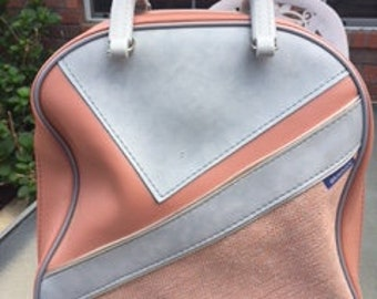 Vintage Brunswick Bowling Bag Pink Salmon Gray with rack Rockabilly Retro Women