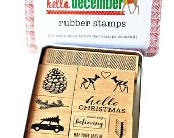 Glitz Design Hello December Stamp Tin Set NEW