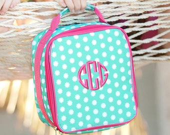 Monogrammed Lunchbox Hadley Bloom Mint Hot Pink Lunch Bag Elementary Kids