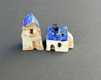 Handmade Ceramic Houses, miniature house, small houses, tiny pottery house, little house, terrarium aquarium decor Housewarming gift