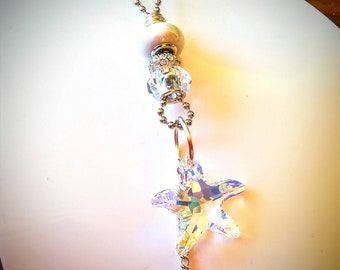Swarovski crystal mummy and baby starfish necklace