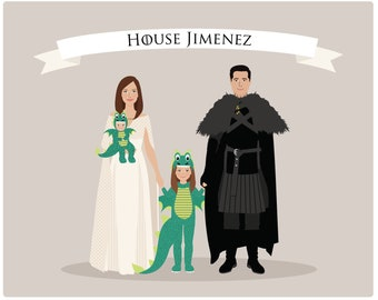Custom Family Portrait Games of thrones, movie theme, show theme, GOT