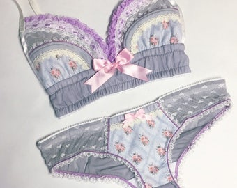 Grey & Light Pink Floral Panty - Pick Your Size - LIMITED EDITION - Handmade Vegan Bridal