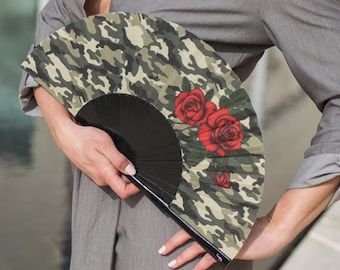 HAND FAN | camouflage print with red roses | unique gift | gift for her | fashion accessories | Free Shipping Worldwide