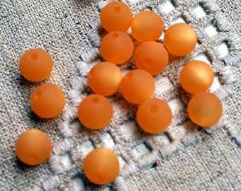20pcs Cool Frost Resin Beads Resin Frosted Matte Orange 8mm Round