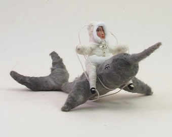 Spun Cotton Vintage Inspired Narwhal Rider Ornament/Figure (MADE TO ORDER)