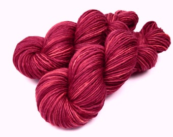 Hand Dyed Yarn, DK Weight Superwash Merino Wool Singles Yarn - Plumberry - Semi Solid Knitting Yarn, Wool Yarn, Single Ply Yarn, Red Violet