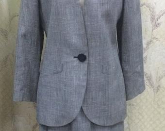 Vintage Albert Nipon Grey Plaid Suit