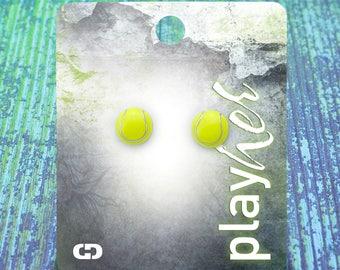Enamel Tennis Post Earrings - Great Tennis Gift! Free Shipping!