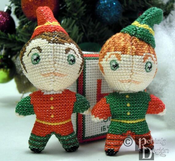 Santa\'s Elfen Puppen 3D zwei Kreuzstich Nähen Muster PDF