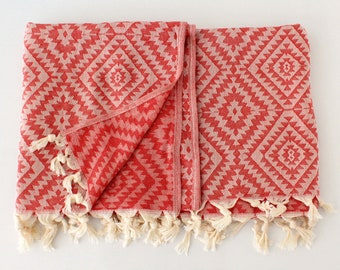 Red Boho Beach Towel Blanket | Navajo Cover Up Sarong | Red Organic Cotton Fouta | Large Spa Pool Towel | Aztec Turkish Throw | Gift Idea