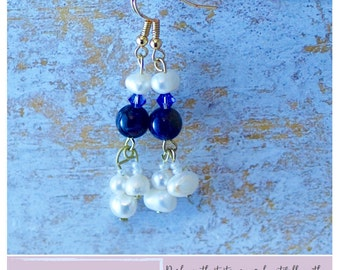 Amethyst and Pearl Drop Earrings, Swarovski Crystal Earrings, Pearl Drop Earrings, Drop Earrings, Pearl Earrings, Bridesmaids Gift, Earrings