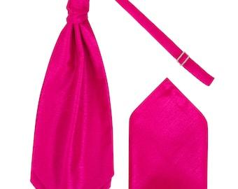 Boys Fuchsia Pink Luxury Dupion Scrunchie Cravat with matching Pocket Square Pre-Tied