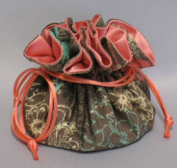 Jewelry Tote--Drawstring Organizer Travel Pouch--Paisley Floral Design---Regular Size