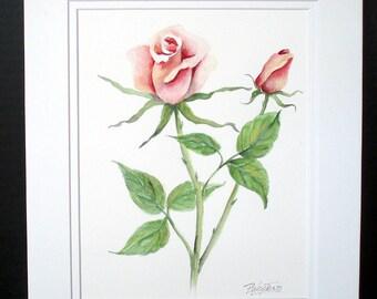 Pink Roses, Original Watercolor Painting, Pink Flower, Pink Rose, Floral Art, Floral, Wall Art, Home Decor, Rose, Rose Wall Art, Painting