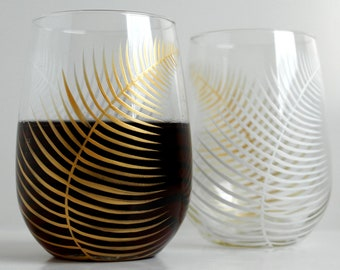 Painted Gold and White Ferns - Set of 2 Stemless Wine Glasses, Hand Painted Glasses, Stemless Glasses, Christmas Glasses, Holiday Glassware