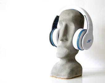 Concrete headphone stand Moai statue style Easter island headphones sculpture cork bottom pad no scratch surface