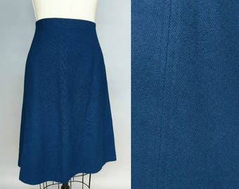 take notes / 1970s blue wool a line skirt / 10 12 medium
