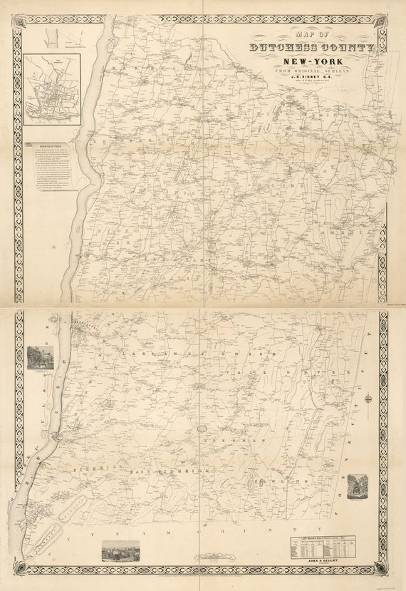 1850 Map of Dutchess County NY from actual surveys