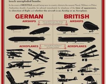 Reproduction World War I Aircraft Identification Poster - A3 [WW1APA3]
