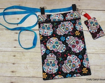 Crossbody Bags, Hipster Bags, Tablet Bag, eReader Bag, Key Chain, Key Fob, Multi Color, Sugar Skull, Purses