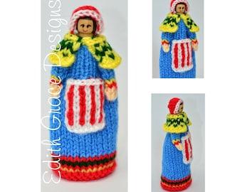 Peg Doll Toy Knitting Pattern, Lapland National Costume, Doll Knitting Pattern, Knitted Peg Doll, Knit Doll, Lapland Folk Dress, Folk Doll