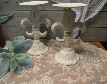 Fleur de Lis Candle Holders - French Inspired Candleholders - Metal Candleholders - Pillar Candle Holders - Farmhouse