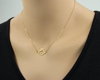 Clover Gold Necklace - Four Leaf Clover Necklace, Good Luck, Clover Necklace
