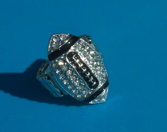Bling Football Ring with Clear Rhinestones-Small