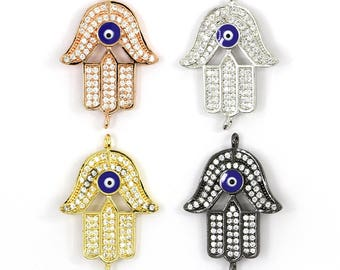 1pc Hamsa Evil Eye Pave Diamond Silver Spacer Beads Brass Metal Charms for Jewelry Making 28*21*2.5mm