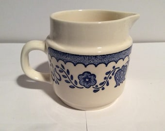 Vintage Blue and White Creamer Scandinavian Look at NeedlesandPinsShop